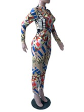 Print Color Block Ankle Length Slim Women's Jumpsuit
