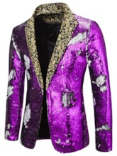 Color Block Casual Sequins Notched Lapel Men's Leisure Blazers