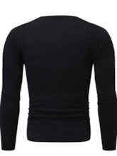 Casual Color Block Round Neck Long Sleeve Men's Shirt