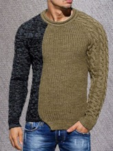 Patchwork Color Block Standard Round Neck Casual Men's Sweater