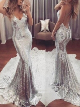 Spaghetti Straps Backless Sequins Evening Dress 2019