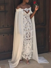 Column Off-The-Shoulder Hollow Lace Beach Wedding Dress 2019