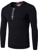 Round Neck Color Block Button Casual Long Sleeve Men's Shirt