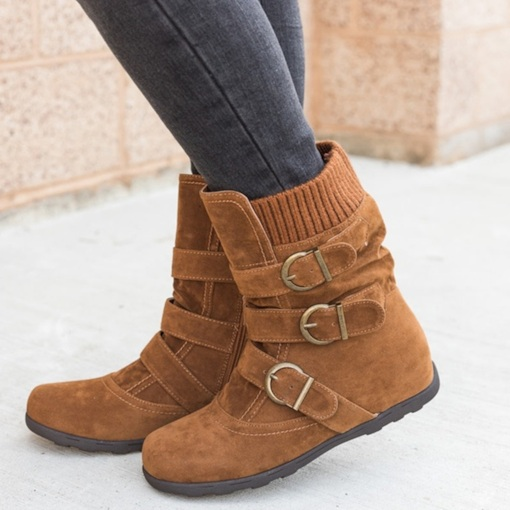Round Toe Plain Side Zipper Western Ankle Boots