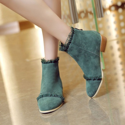 Block Heel Back Zip Round Toe Lace Sweet Ankle Boots