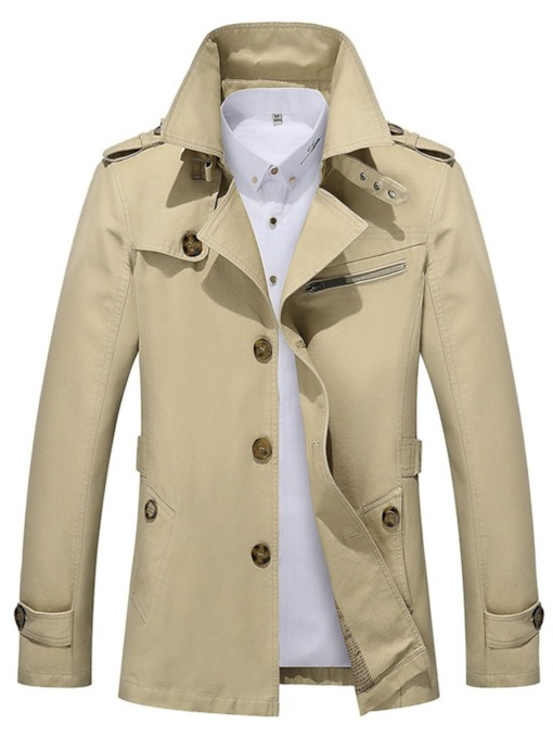 Lapel Button Plain Single-Breasted Men's Jacket
