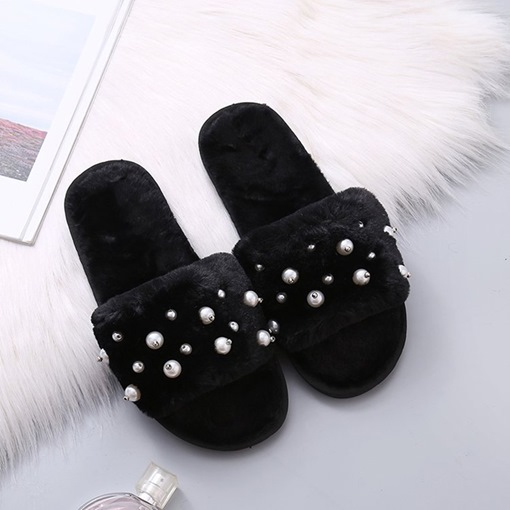 Slip-On Beads Winter Slippers