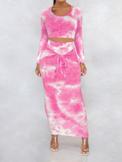 Sexy Gradient Round Neck Women's Two Piece Sets