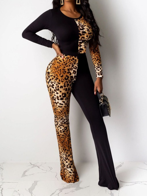Full Length Leopard Slim Women's Jumpsuit