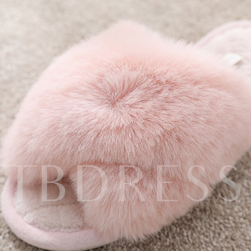 Low Heel Cross Candy Color Slip-On Wniter Slippers