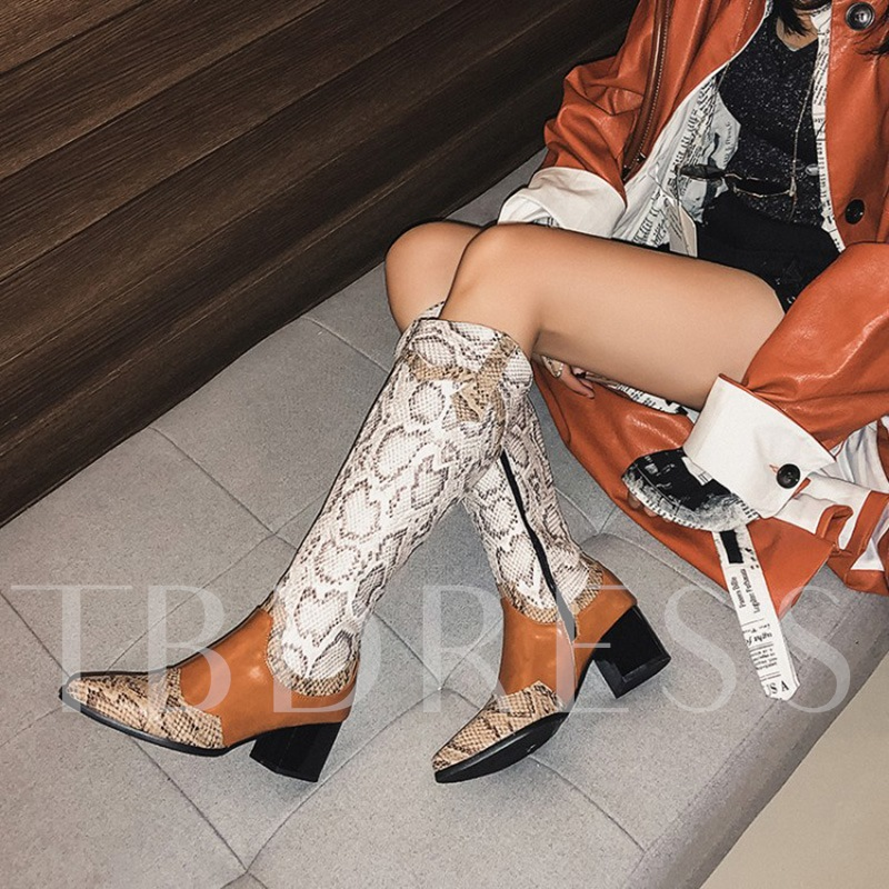 Chunky Heel Pointed Toe Color Block Side Zipper Knee High Boots