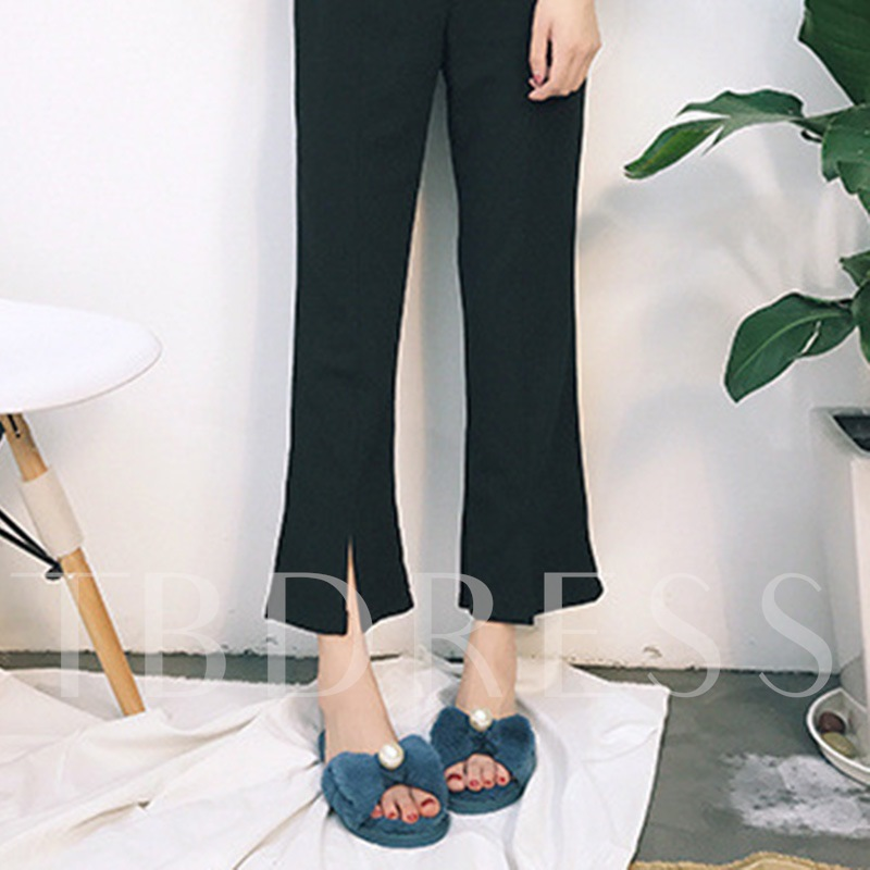 Flat With Slip-On Bow Plain Wniter Slippers