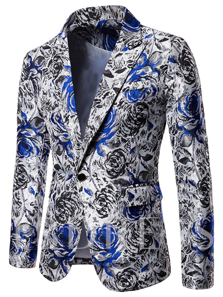 Color Block Straight Casual Lapel Men's Leisure Blazers