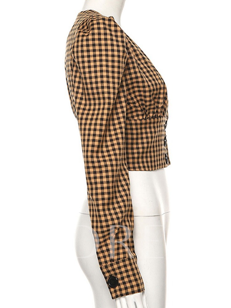 Plaid Short Women's Blouse