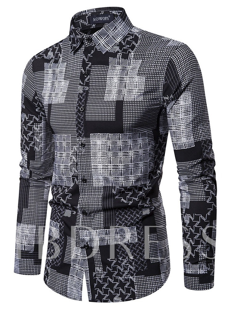 Print Lapel Casual Plaid Single-Breasted Men's Shirt