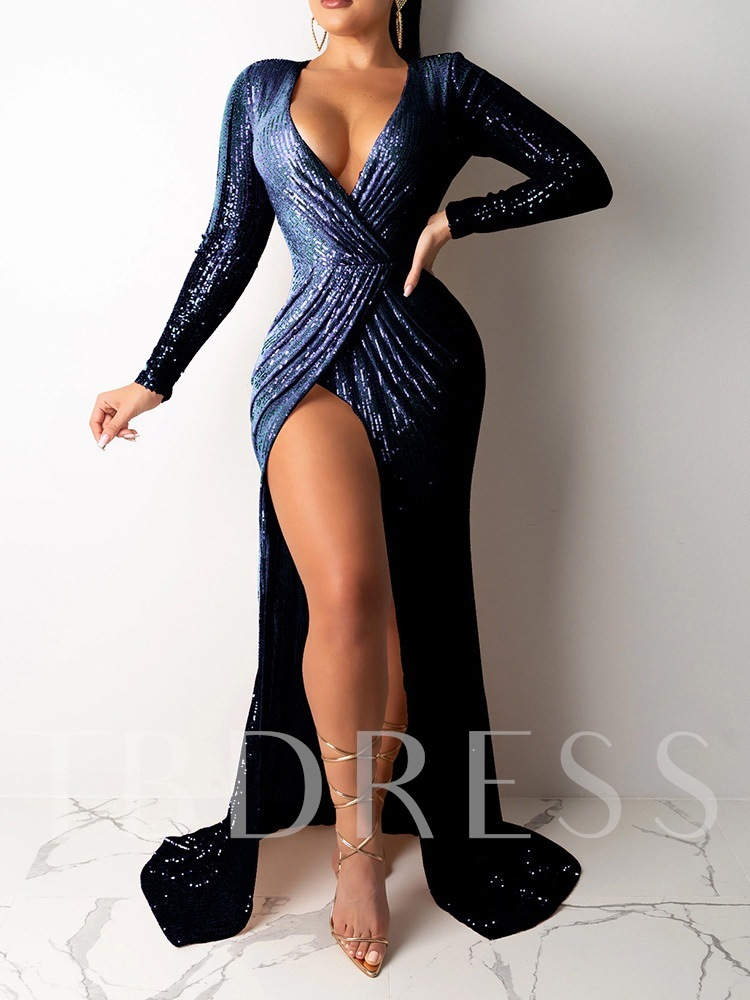 V-Neck Sequins Long Sleeve Floor-Length Bodycon Women's Maxi Dress