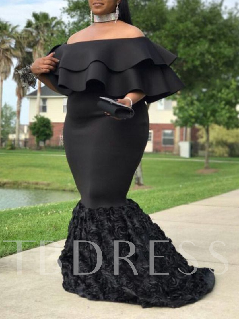 Off-The-Shoulder Tiered Cap Sleeves Plus Size Evening Dress