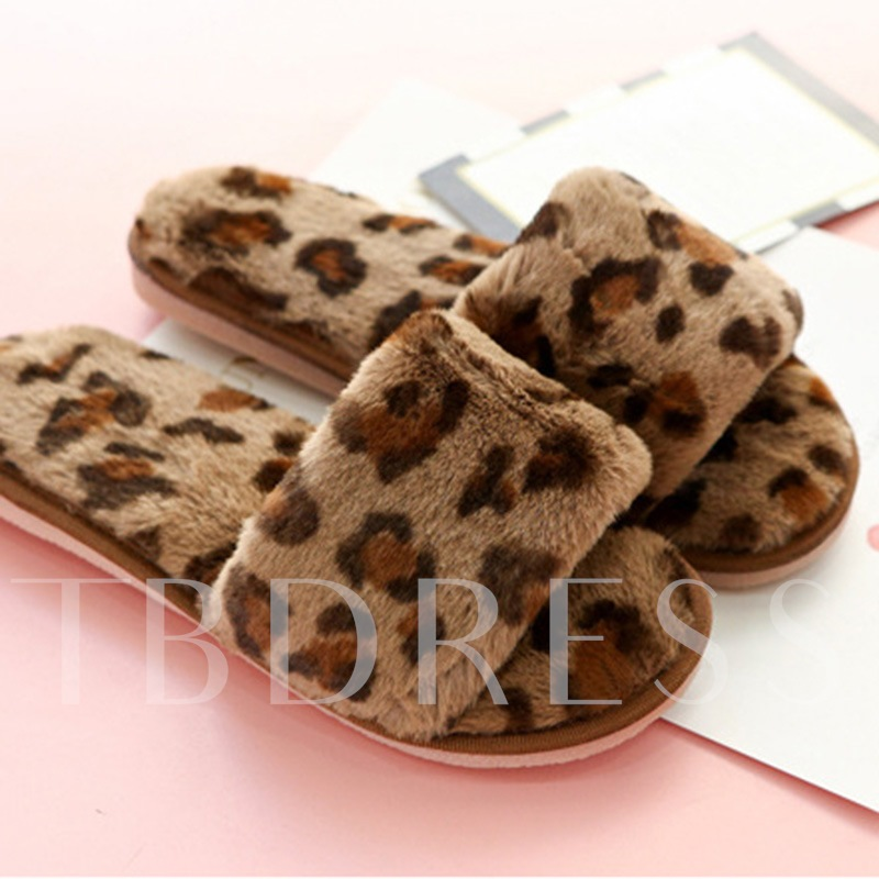 Leopard Print Slip-On Flat With Fluffy Wniter Slippers