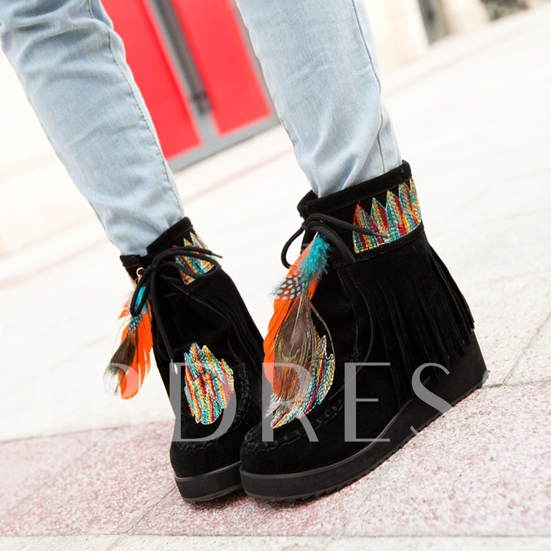 Wedge Heel Round Toe Color Block Lace-Up Front Ankle Boots