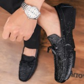 Bowknot Slip-On Glitter Men's Prom Shoes