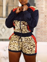 Patchwork Leopard Straight Women's Two Piece Sets