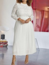 Plus Size Three-Quarter Sleeve Mid-Calf Stand Collar Lace Standard-Waist Women's Dress