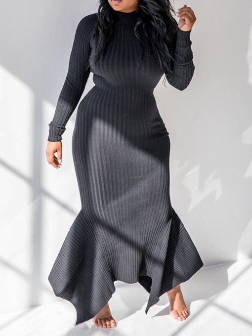 Asymmetric Floor-Length Long Sleeve Stand Collar Standard-Waist Women's Sweater Dress