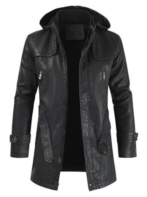 Plain Mid-Length Hooded Fall Men's Leather Jacket