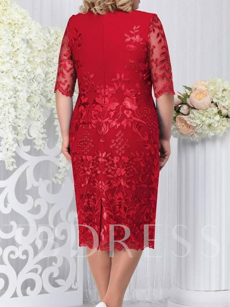 Plus Size Lace Mid-Calf Half Sleeve Round Neck Plain Women's Dress