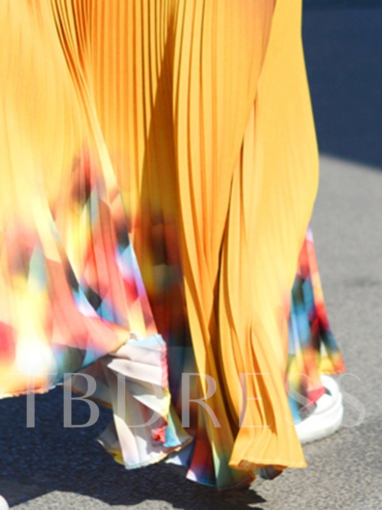 Color Block Ankle-Length Pleated Casual Women's Skirt