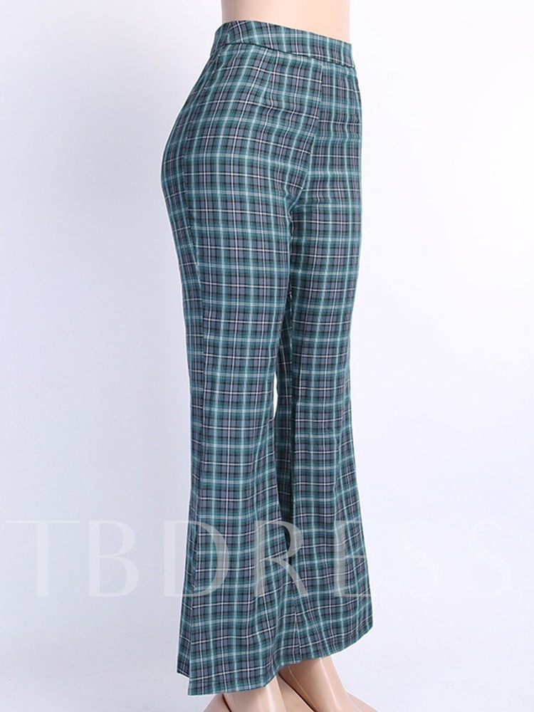 Plaid Color Block Slim Mid Waist Women's Casual Pants