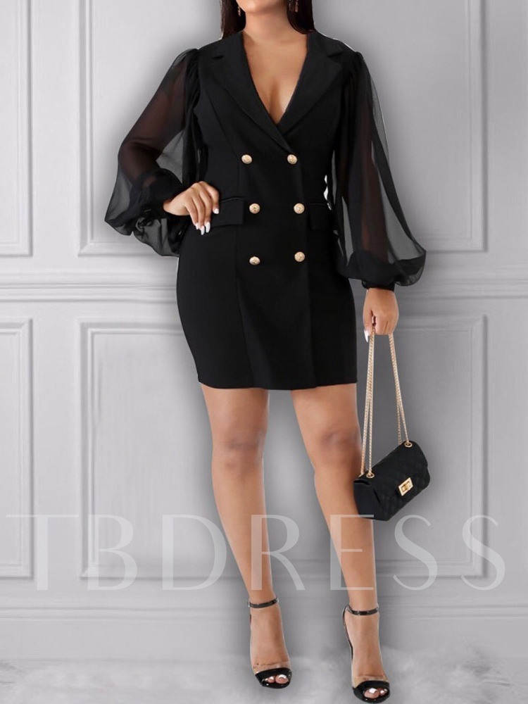 Notched Lapel Above Knee See-Through Long Sleeve Double-Breasted Women's Dress