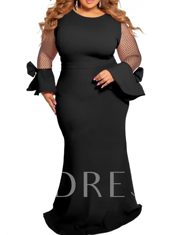 Floor-Length Round Neck Mesh Long Sleeve Fall Women's Maxi Dress