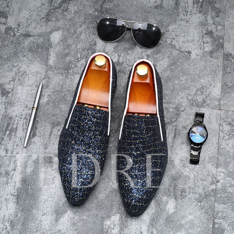 Slip-On Color Block Sequin Pointed Toe Men's Prom Shoes