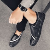 Slip-On Patchwork Low-Cut Upper PU Men's Casual Shoes
