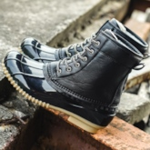 Lace-Up Front Round Toe Patchwork Men's Duck Boots