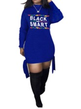 Above Knee Stand Collar Lace-Up Long Sleeve Pullover Women's Day Dress