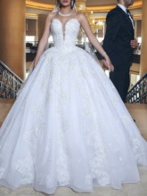 Sweetheart Appliques Beading Ball Gown Wedding Dress 2019