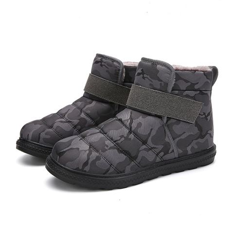 Camouflage Velcro Round Toe Short Floss Men's Snow Boots