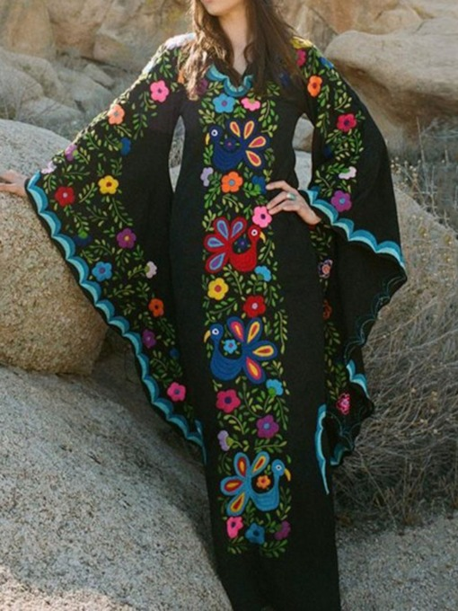 Print Floor-Length Long Sleeve V-Neck Ethnic Women's Maxi Dress