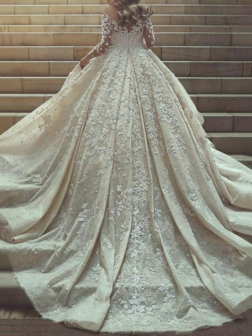 Ball Gown Sheer Neck Appliques Wedding Dress 2019