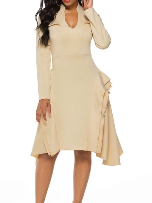 Mid-Calf V-Neck Falbala Long Sleeve Date Night/Going Out Women's Day Dress
