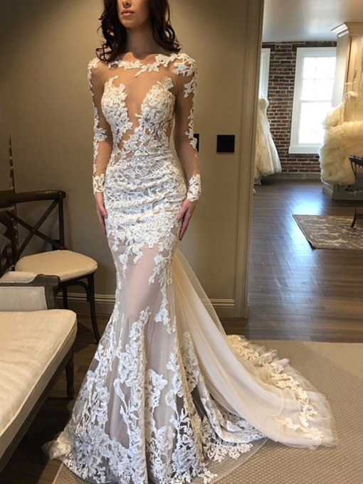 Watteau Train Appliques Long Sleeves Wedding Dress 2019