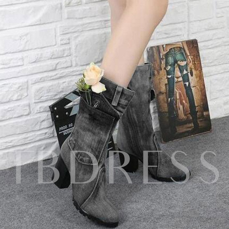 Round Toe Cloth Side Zipper Vintage Chunky Heel Ankle Boots
