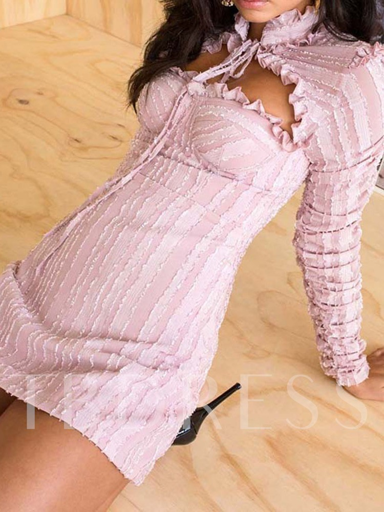 Stand Collar Long Sleeve Above Knee Stringy Selvedge Mid Waist Women's Bodycon Dress