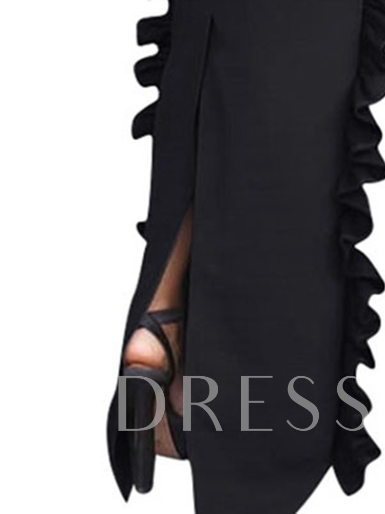 Floor-Length Stringy Selvedge Stand Collar Nine Points Sleeve Western Women's Maxi Dress
