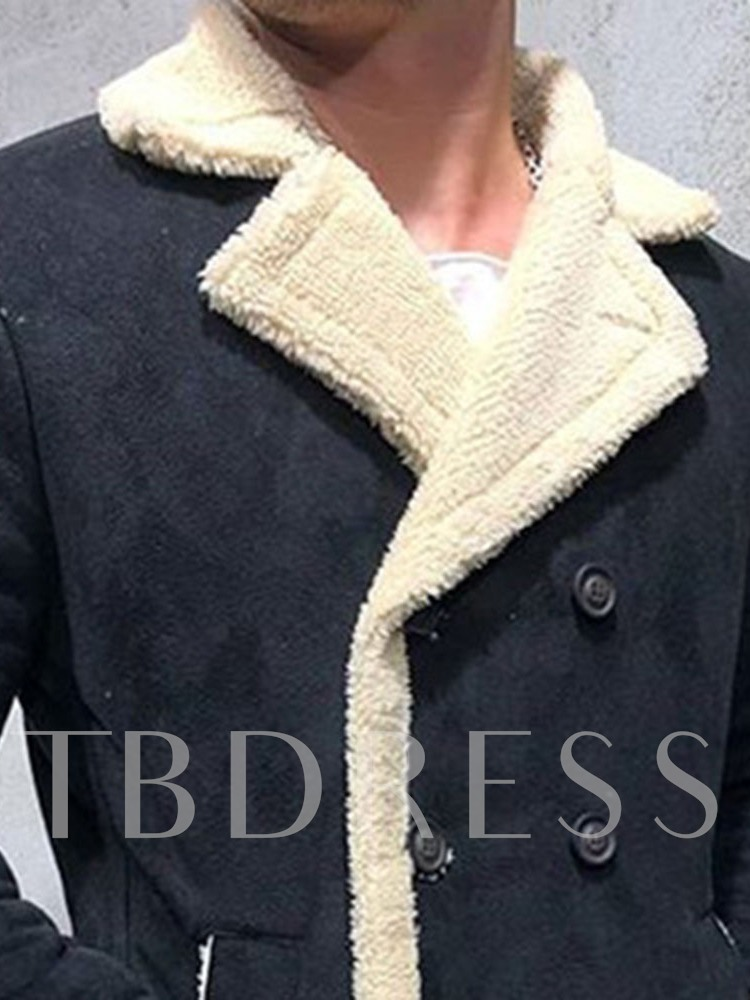 Patchwork Mid-Length Color Block Straight Men's Coat