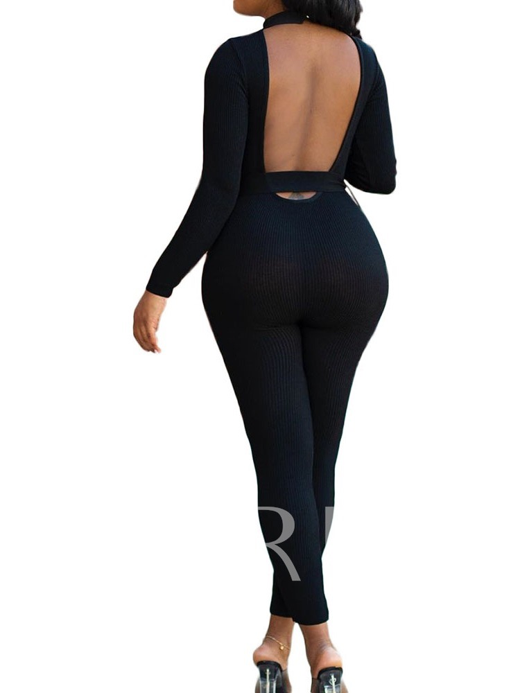 Plain Ankle Length Sexy Skinny Women's Jumpsuit