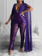 Party/Cocktail Patchwork Full Length High Waist Women's Jumpsuit