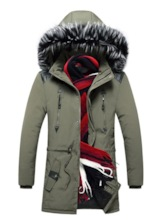 Mid-Length Hooded Color Block Zipper Men's Down Jacket